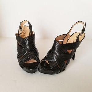 "Guess Womens Platform Black Stap 5"" Heel sz 6.5"